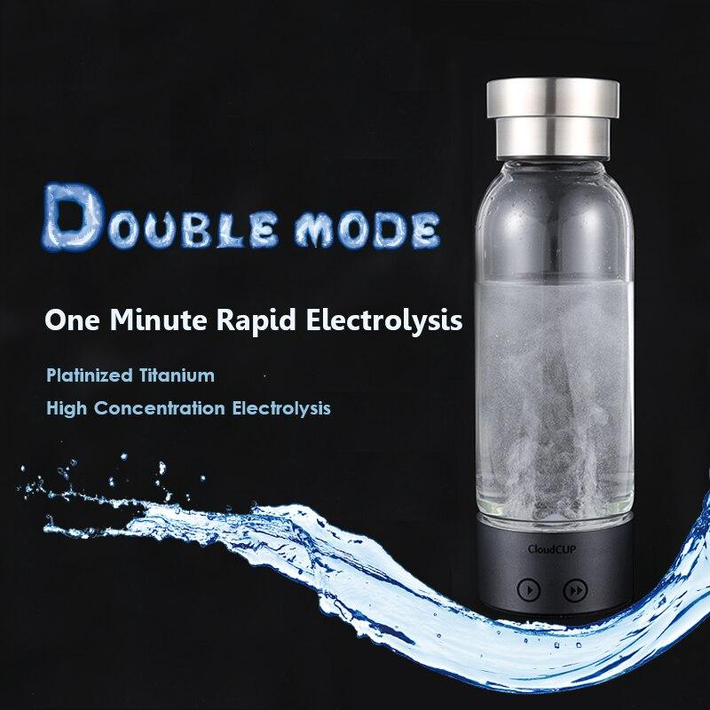 Hydrogen-Rich Water Cup Ionizer Generator Hydrogen Water Bottle Electrolysis Antioxidants ORP Energy Healthy Glass Cloud Cup electrolysis hydrogen rich water maker generator ionizer cup