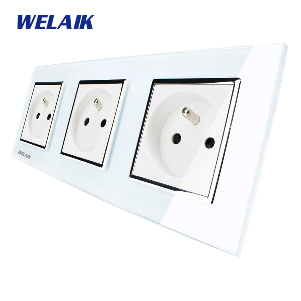 WELAIK Glass Panel EU Wall Socket Wall Outlet White Black France Standard Power Socket AC110~250V A38F8F8FW/B welaik glass panel wall socket wall outlet white black european standard power socket ac110 250v a38e8e8ew b