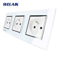WELAIK Glass Panel EU Wall Socket Wall Outlet White Black French Standard Power Socket AC110 250V