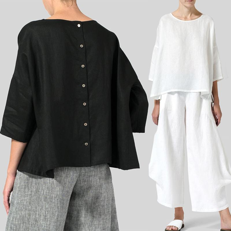 Vintage Women Blouse ZANZEA Summer O Neck 3/4 Sleeve Shirt Casual Chemise Solid Buttons Blusas Robe Loose Work Tops Plus Size