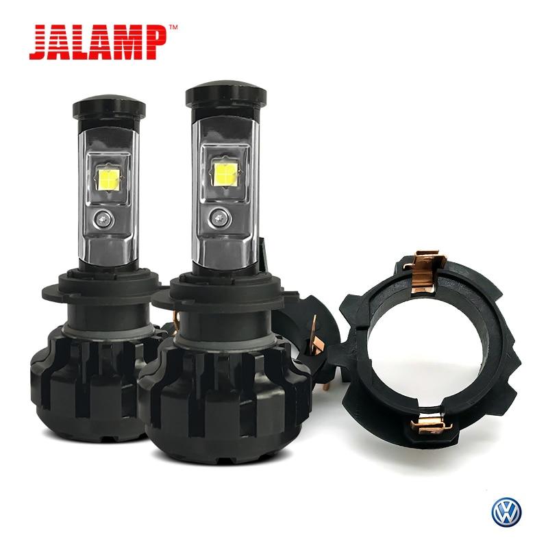 Светодиодный лампы H7 авто лампы CSP XHP50 чипсы 12 В H7 светодиодный Canbus с 2 шт. адаптер держатель для Jetta VW гольф MK5 автомобильной светодиодный фары