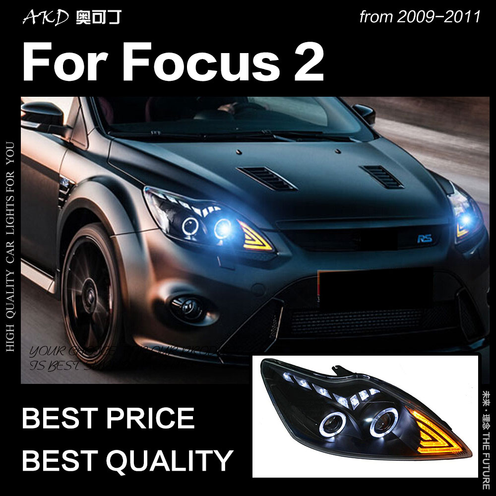 AKD Car Styling for Ford Focus Headlights 2009 2011 Focus 2 LED Headlight DRL Hid Head