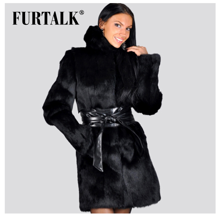 Aliexpress.com : Buy FURTALK Natural Rabbit Fur Coats Russian ...