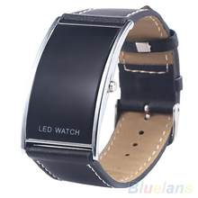 Männer frauen LED Digital Datum Rechteck Zifferblatt Faux Lederband Elektronik Armbanduhr