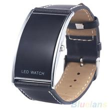 Men's Women's LED Digital Date Rectangle Dial Faux Leather Strap Electronics Wrist Watch