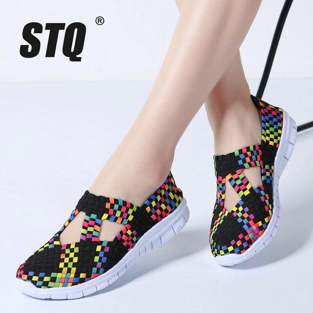 STQ 2020 Autumn Women Flats Shoes Women Woven Shoes Flat Sneakers Shoes Female Ballet Flats Multi Eva Loafers Ladies Shoes 609