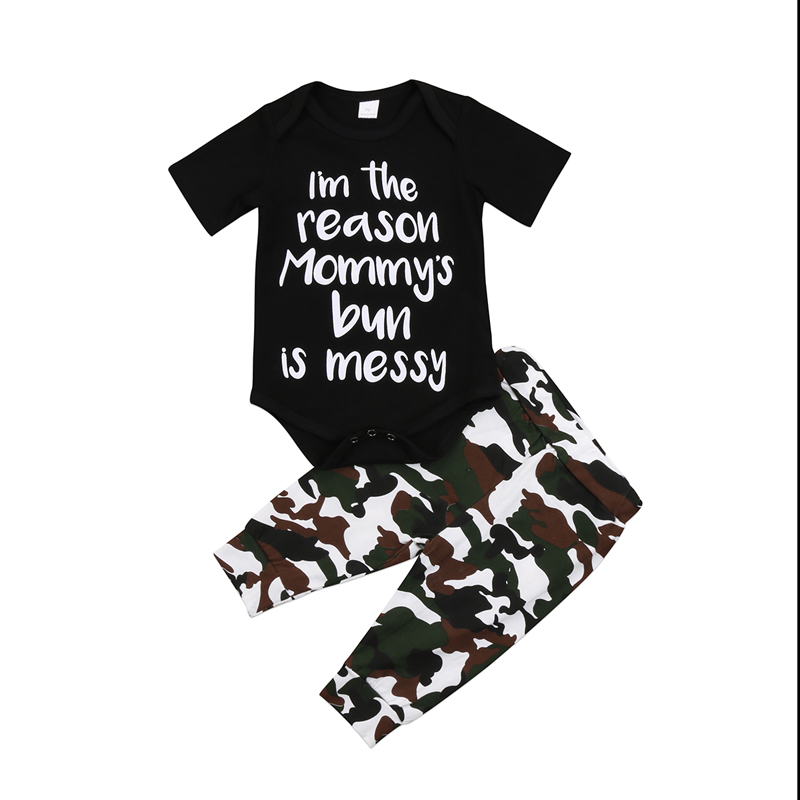 New Casual Cute Newborn Baby Boys Tops Romper Short Sleeve Camouflage Long Pants Outfits Clothes Set