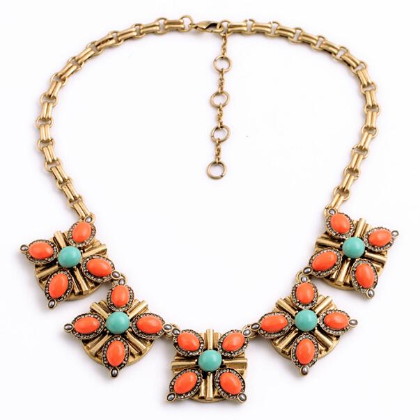 Orange acrílico flor colgante, collar de la vendimia chunky declaración choker encanto joyas collares de moda para las mujeres 2017