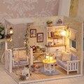 Комплекты DIY Деревянный Кукольный Домик с Мебелью Дерева Кукольный Домик миниатюры с LED + Мебель + Крышка Кукольный Дом Номер Бесплатная Доставка