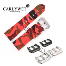 CARLYWET 24mm Camo red Waterproof Silicone Rubber Replacement Wrist Watch Band Strap Belt
