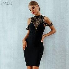 ADYCE 2020 nouveau été noir robe de pansement femmes Vestidos Sexy dos nu perles moulante Club robe célébrité soirée robe de soirée