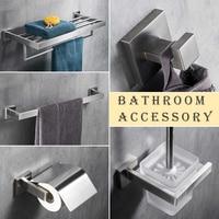 Brushed Nickel Bathroom Accessory Set Stainless Steel Bath Towel Shelf Towel Bar Toilet Paper Holder Storage Basket Hooks