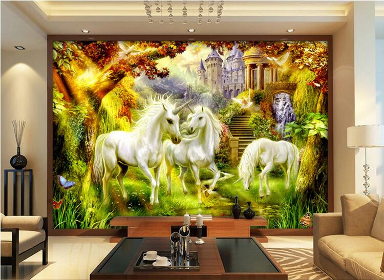3d room wallpaper custom mural non-woven wall sticker fairy talestyle white  horse unicorn paintings photo wallpaper for walls custom baby wallpaper snow white and the seven dwarfs bedroom for the children s room mural backdrop stereoscopic 3d