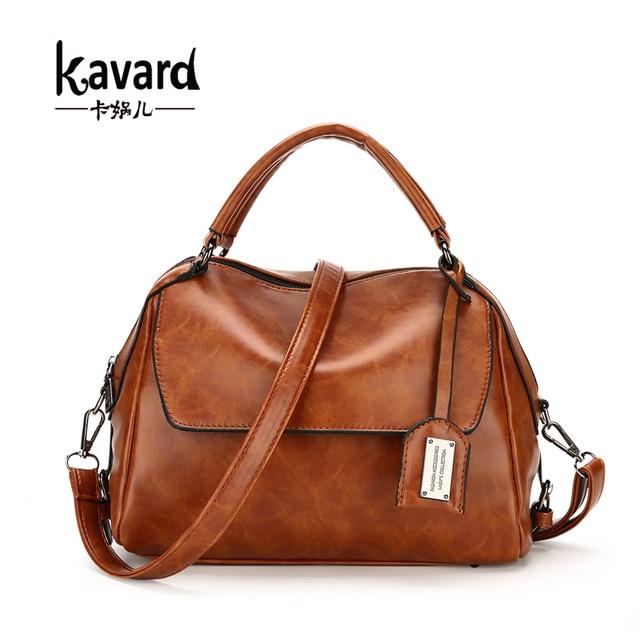 f8d4148c30f0 Kavard New luxury women bags designers handbags Vintage oil wax leather  handbag Ladies hand bags women famous brand sac a main
