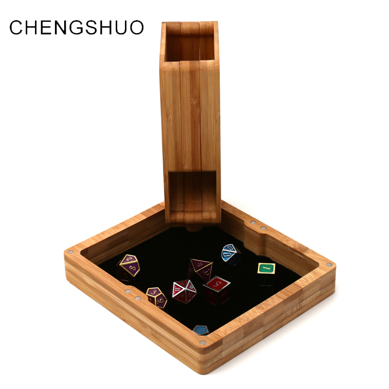 chengshuo dnd dice tower Set of 3 fold Bamboo Storage dice box customized Magnet adsorption tray