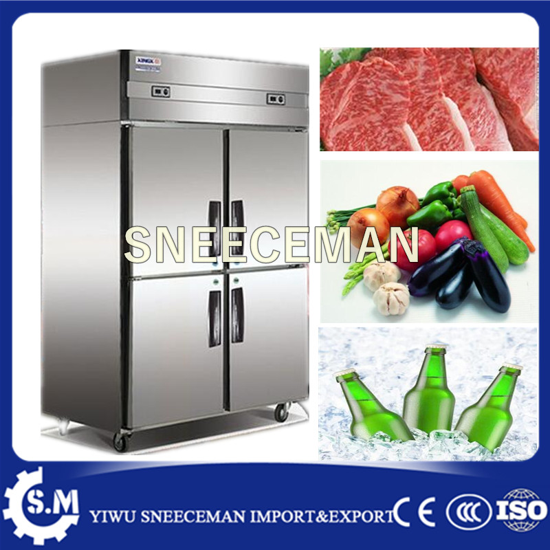 Straight Cold Commercial Kitchen Freezer 4-door Upright Refrigerator Freezer