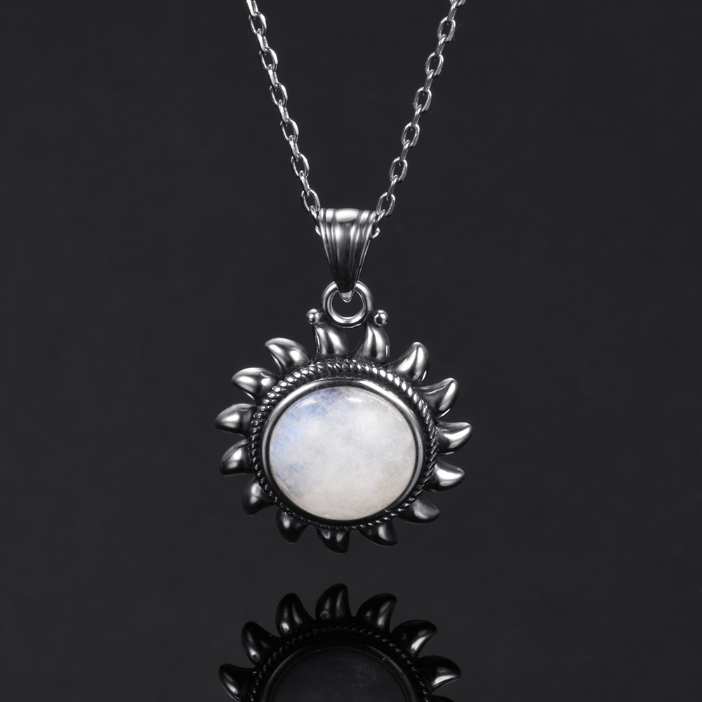 HTB1deUyatfvK1RjSspoq6zfNpXaR Natural Moonstone 925 silver jewelry Pendants Necklaces For Women Men Sun Geometric Shape Vintage Fashion Woman Pendants Hotsale