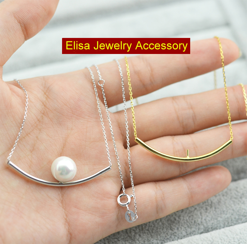 Simple Classic S925 Sterling Silver Chain Accessory Women DIY Pearl Necklace Jewelry Findings Components Silver Gold