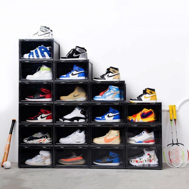 2019 tendance en plastique Transparent boîte à chaussures épaississement peut être superposée baskets côté vitrine chaussures de sport organisateur stockage