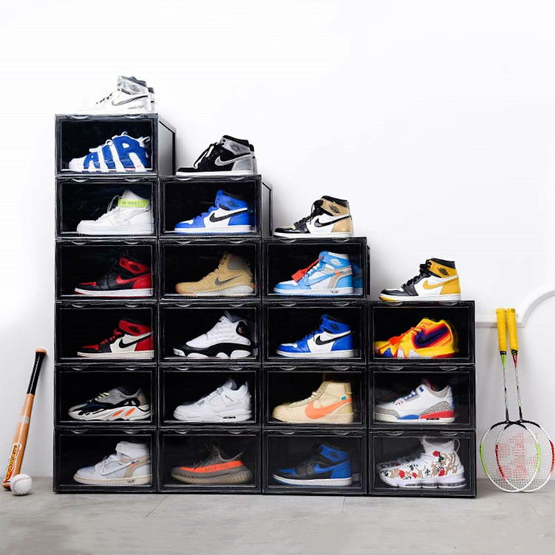 2020 Trend Plastic Transparent Shoe Box Thickening Can Be Superimposed Sneakers Side Display Case Sports Shoes Organizer Storage