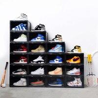 2020 tendência de plástico transparente caixa de sapato espessamento pode ser sobreposto tênis exibição lateral caso esportes sapatos organizador armazenamento|Cestos e caixas de armazenamento| |  -