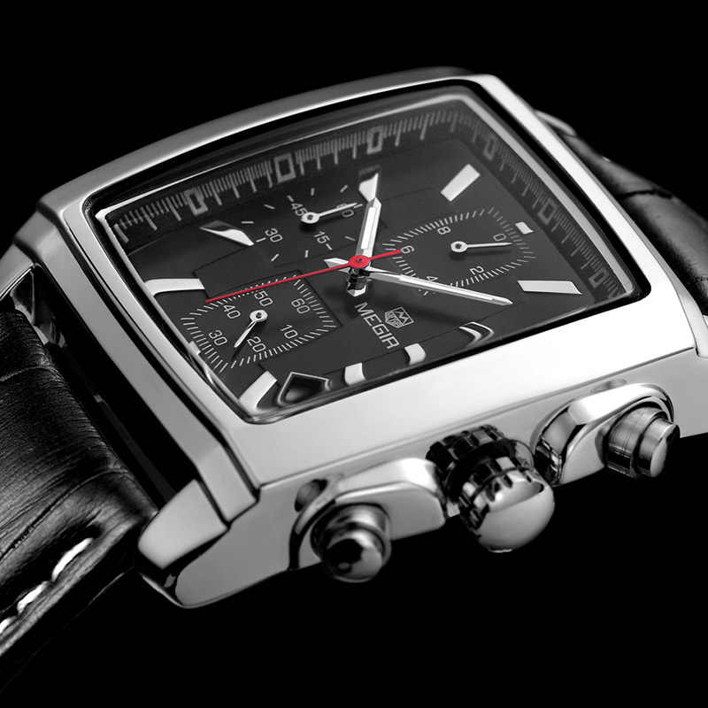 MEGIR חדש מקרית מותג שעונים גברים חם אופנה ספורט שעוני יד הכרונוגרף איש עור שעון עבור זוהר גברי שעה
