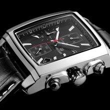 Megir nova marca casual relógios homens quente moda esporte relógio de pulso homem cronógrafo relógio de couro para masculino luminoso calendário hora