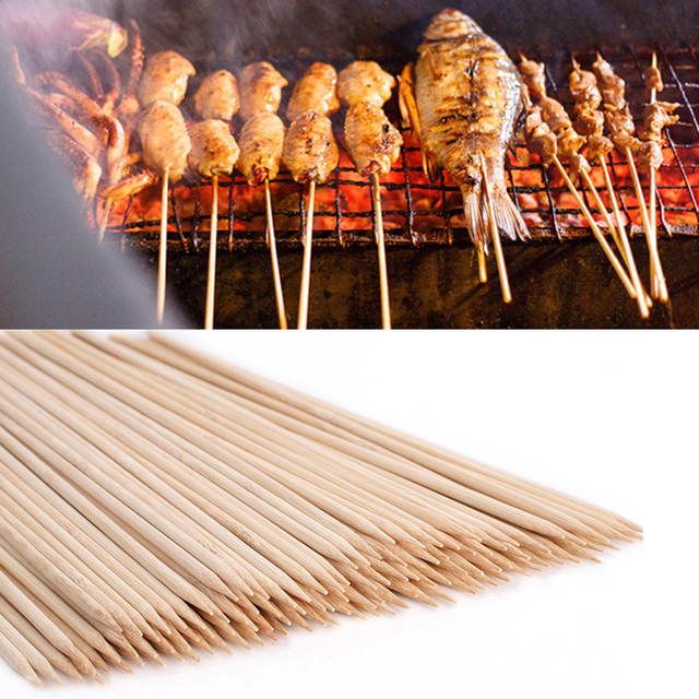 55/90 Pcs Bamboo Skewers Wooden Barbecue Wood Sticks 3