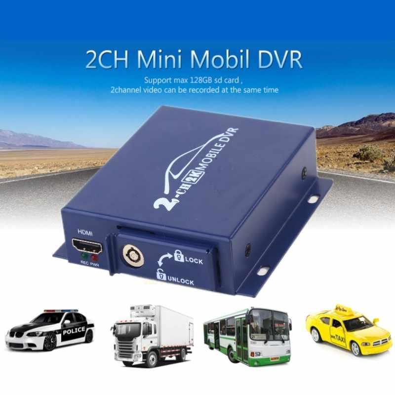 Оптовая продажа 20 шт./лот 2ch Компактный переносной цифровой автомобильный автобус, транспортное средство 1080 P HD AHD DVR в режиме реального времени 2 канала двойной SD DVR с пультом дистанционного управления