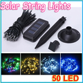 1pcs 50 leds Solar Led Light String White/ Multicolor for Outdoor Fairy Christmas Tree Party Lights Garden Lamps