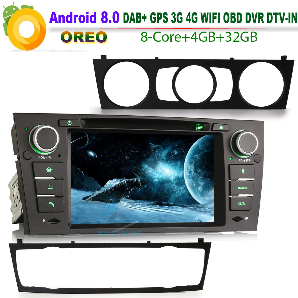 DAB+ for BMW E91 Touring Android 8.0 Autoradio Car CD Stereo GPS Sat Nav WiFi 4G Radio RDS BT DVD USB SD DVR CD OBD Bluetooth image