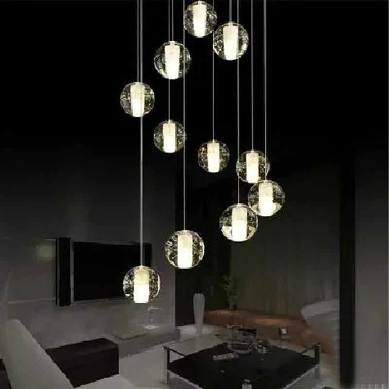modern led crystal pendant lamp multi- light linear pendant light suspension Crystal bubble ball pendant lights stairwell lamps гантели starfit гантель виниловая starfit db 102 3 кг темно красный 1 шт