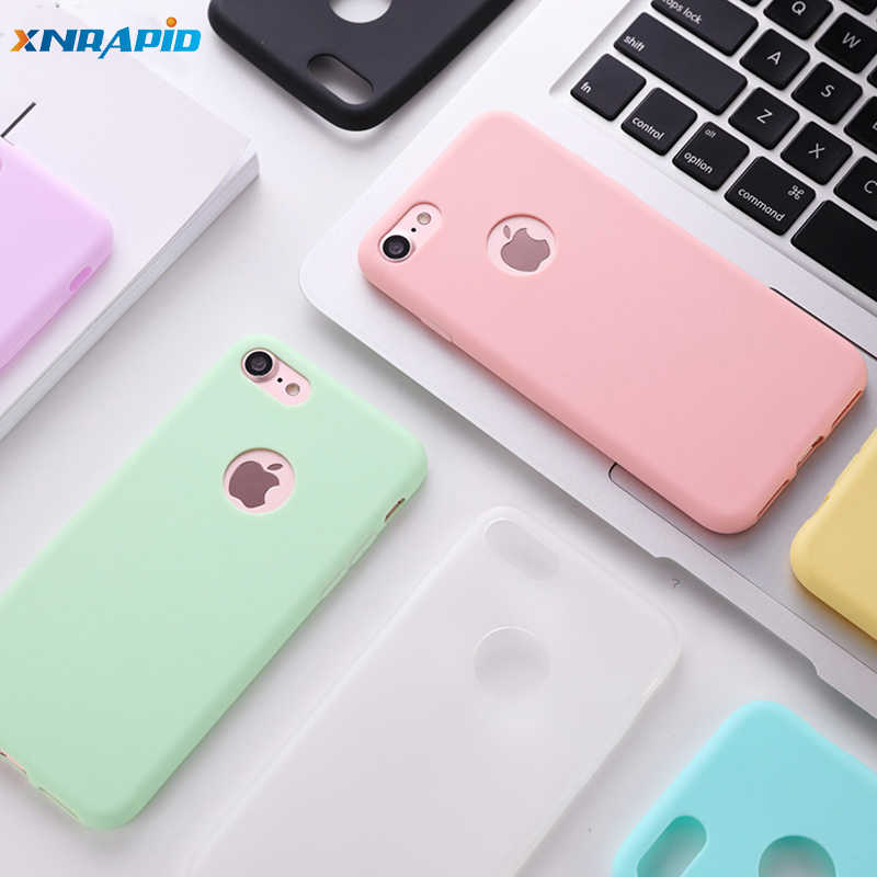 Met Logo Gat Siliconen Case Voor Iphone 5 5 S Se 6 6 S 7 8 Plus Case Candy Kleur soft Tpu Cover Voor Iphone Xr X Xs Max Telefoon Case