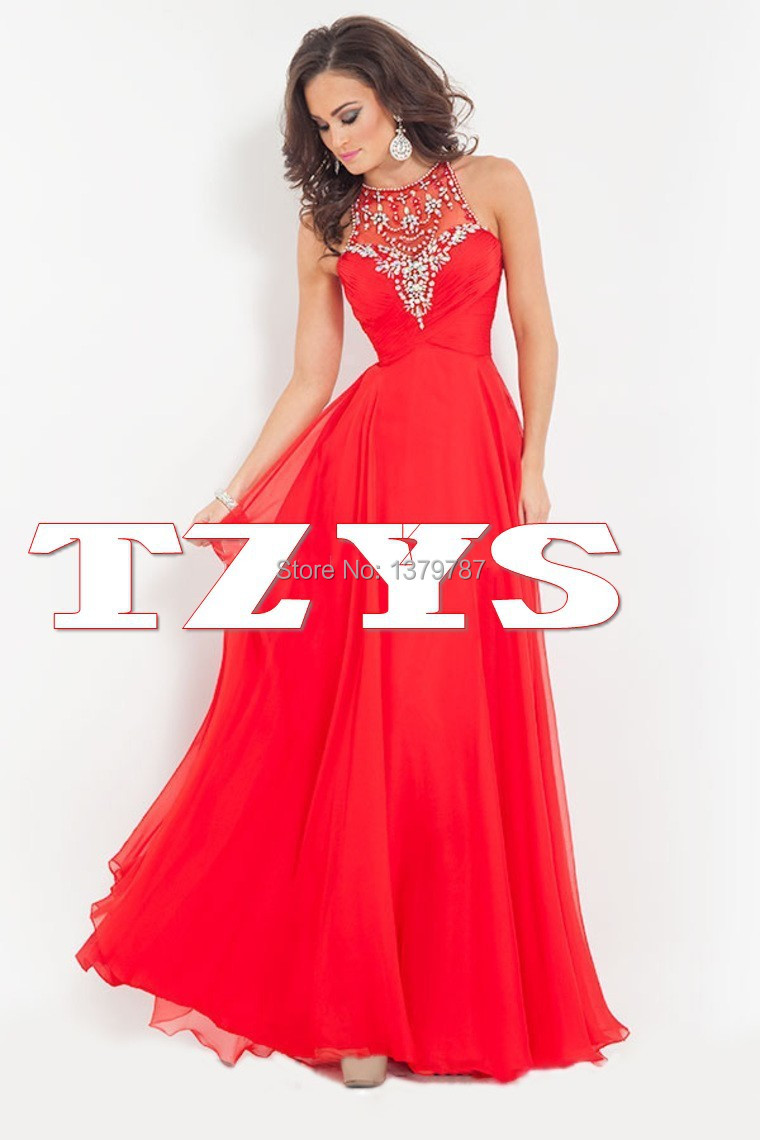 Newest A Line Long Red Prom Dress 2015 Chiffon With ...