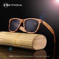 Kithdia novo 100% real zebra madeira óculos de sol polarizados feitos à mão bambu dos homens óculos de sol gafas de sol madera