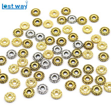 6mm 200 Pcs/lot Vintage Tibetan Silver Spacer Beads Gold Wheel pattern Bead for Bracelet Jewelry Making (Lead and Nickel Free)