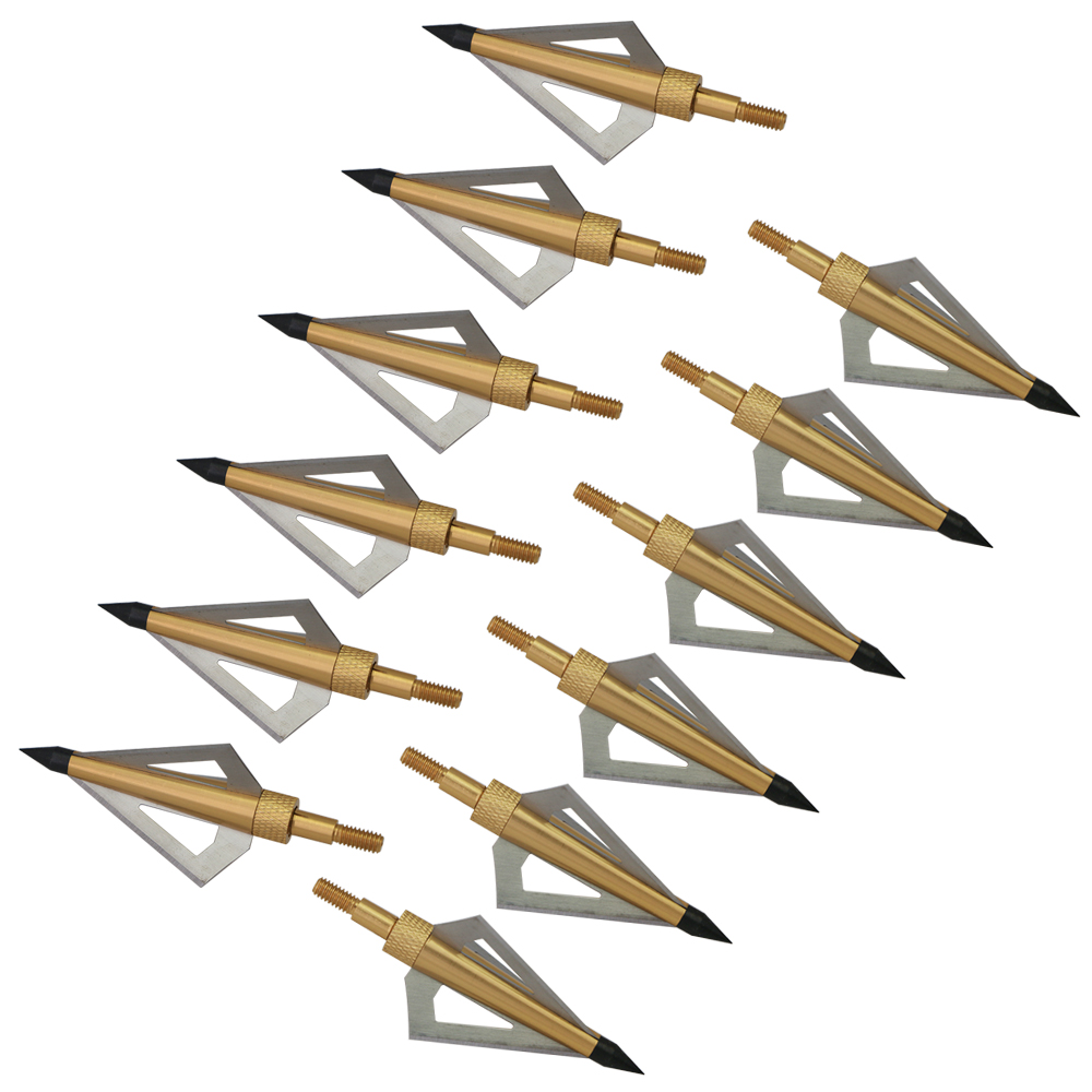 12Pcs 125 Grain 3 Fixed Blade Archery Broadheads Arrow Head Hunting Arrow Tips Golden for Compound Bow and Crossbow-in Bow & Arrow from Sports & Entertainment