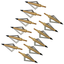 12Pcs 125 Grain 3 Fixed Blade Archery Broadheads Arrow Head Hunting Tips Golden for Compound Bow and Crossbow