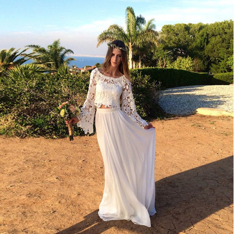 Elegant Two Pieces Lace Arab Wedding Dress Sheath 2017: Robe De Soiree 2017 Elegant Long Sleeve Lace Bohemian