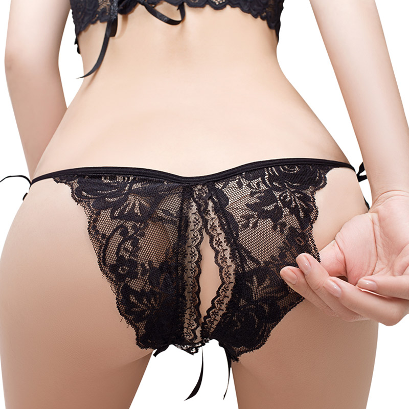 Pink Open Crotch Women Sexy Lace Panties Women Low Waist Underwear G-Strings Thongs Tangas Ladys Exotic Lingeries Intimates 064