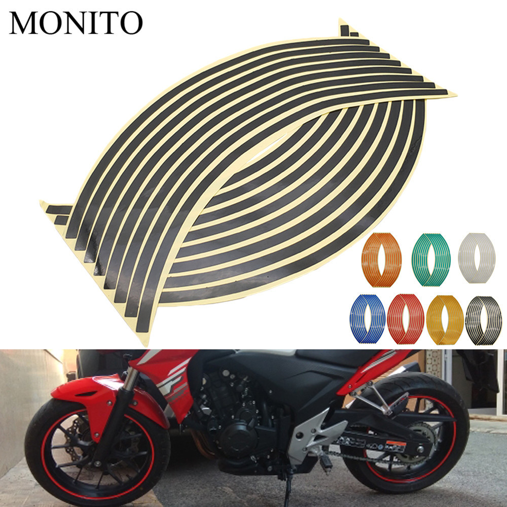 Motorcycle Wheel Stickers Motocross Reflective Decals Rim Tape Strip For <font><b>KAWASAKI</b></font> <font><b>NINJA</b></font> <font><b>250</b></font> 300R Z250 Z300 300 400R 650R Z750 image