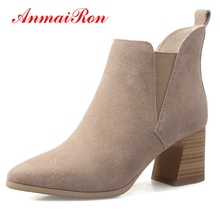 AnmaiRon  Basic Pointed Toe Women Boots Winter Square Heel High Ankle for Size34-39 LY169
