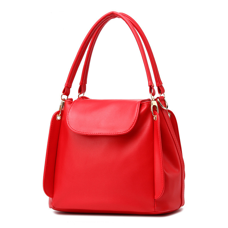 Fashion women handbag female pu leather Shoulder Bags soft high quality ladies hand bag red large bucket bag lady 2018 designer leftside fashionable 2017 women tassel designer rivet boston bag female handbag woman hand bags shoulder bag with wide strap