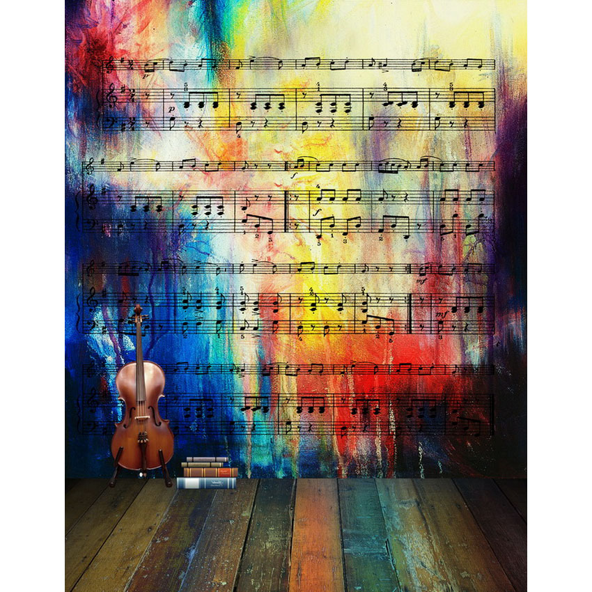 Customize vinyl cloth music score wall wood floor photo backgrounds for school kids portrait photography studio backdrops S-2199 love for three oranges vocal score