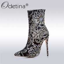 Odetina 2017 New Vintage Embroidery Boots Black Women High Heel Ankle Boots Pointed Toe Stiletto Boots Fashion Shoes Big Size 43
