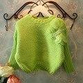 Verde 2015 nuevo otoño invierno de la mariposa suéter de punto para las muchachas de la manga del batwing los niños del suéter suéteres para 2 ~ 7 age