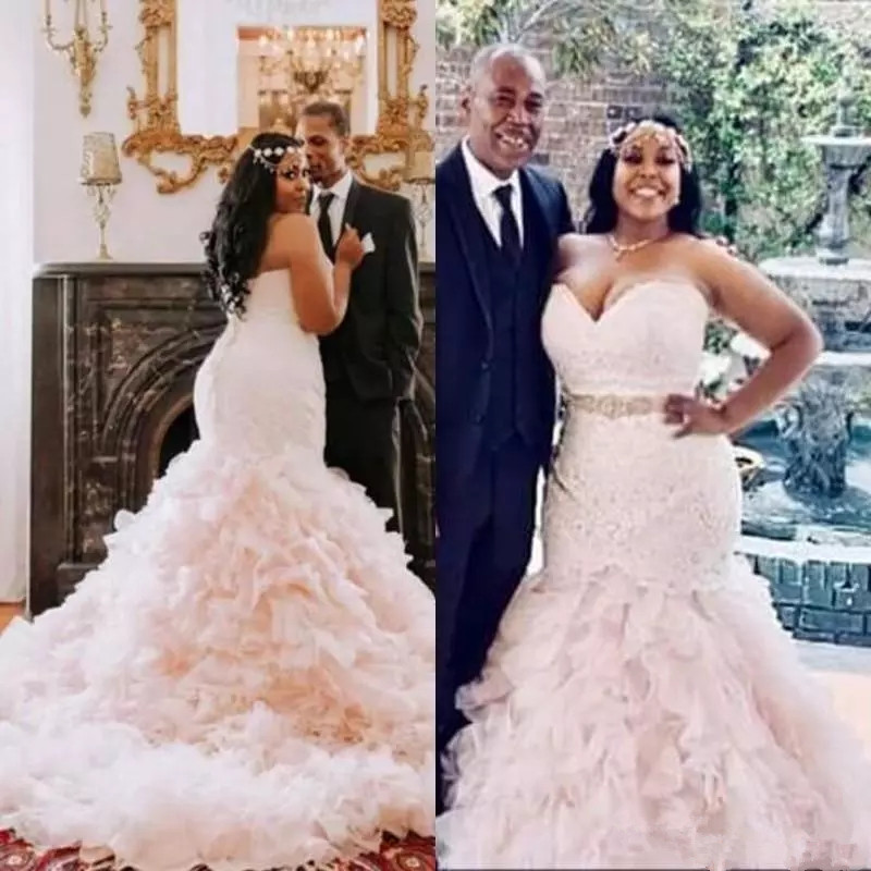 US $182.04 18% OFF|Plus Size Mermaid Wedding Dress Beaded Belt 2019  Sweetheart Modest Blush Pink Ruffles Skirt Country African Bridal Wedding  gown-in ...