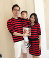 Family Clothing Mother Daughter Dresses Long Sweaters dress Striped Outfits Matching Mother and Daughter Clothes mom dad baby