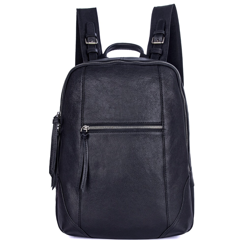 J.M.D High Quality Genuine Leather Backpack Black Student School Backpack 2012A