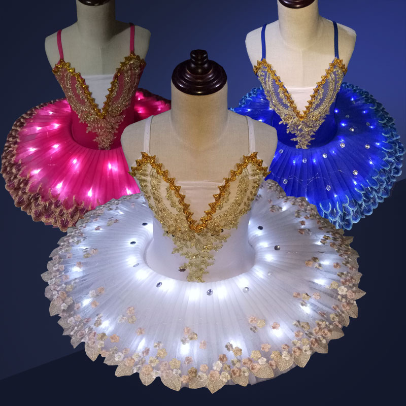 Professional Ballet Tutus LED Children Girls Swan Lake Dance Costumes Glitter Tutu Skirt Kid Ballerina Leotard Ballet Wear
